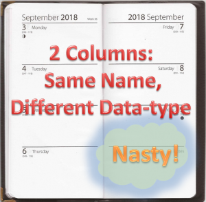 Two Columns: Same Name, Different Data-type = Nasty! SQL Smell