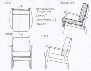 Orthographic projection sketch of a chair